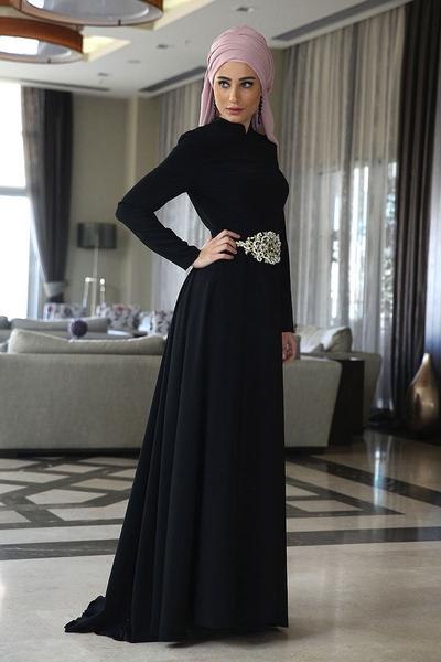 e0c530a05761a للمحجبات اشتري أجمل تصاميم فساتين السهرة الأنيقة باللون الأسود ...