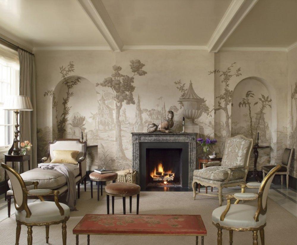 لوحة جدارية رائعة تحكي قصة من خلال الرسومات على جدران غرفة المعيشة الكلاسيك