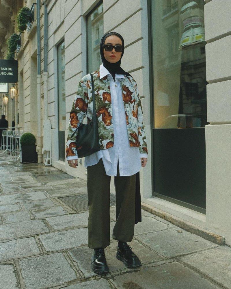 تنسيق البنطلون الواسع مع الحجاب بطريقة لينا الغوطي