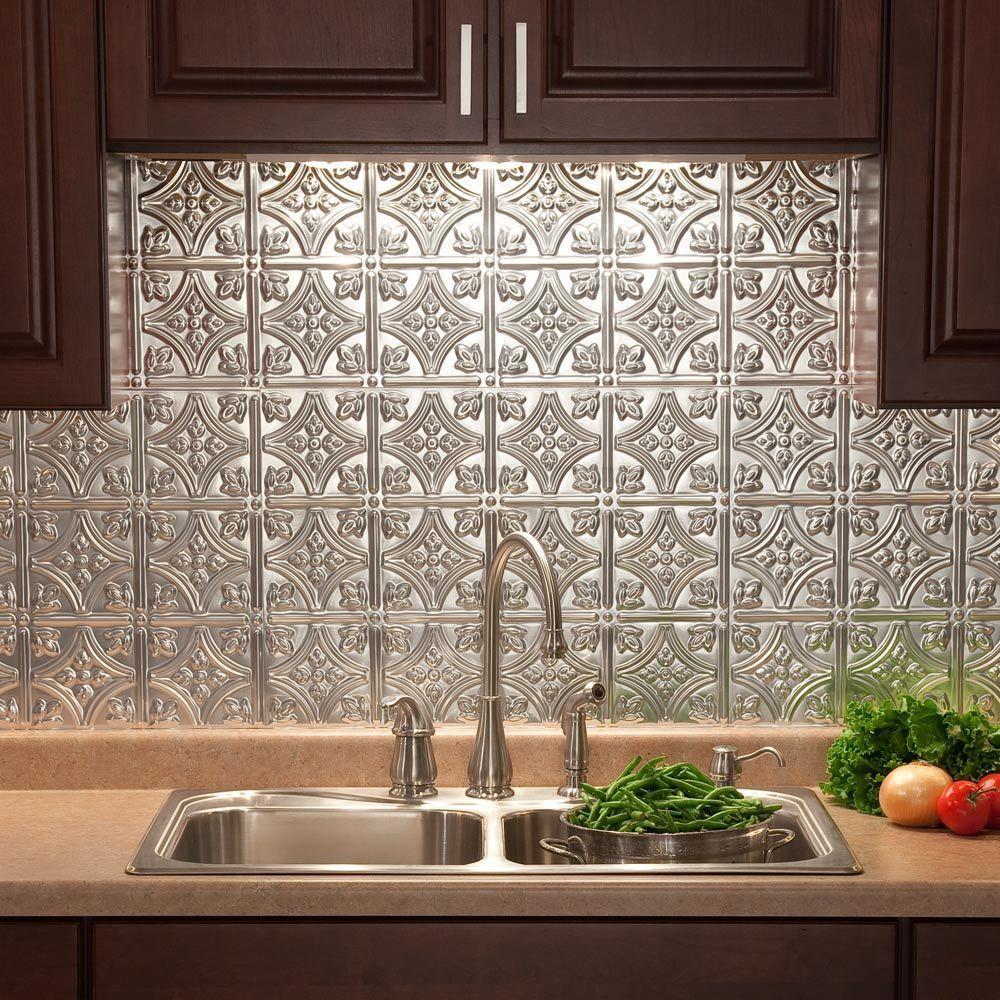 Nice Traditional 1 PVC Decorative Backsplash Panel In Brushed Aluminum B50 08    The Home Depot Nice Look