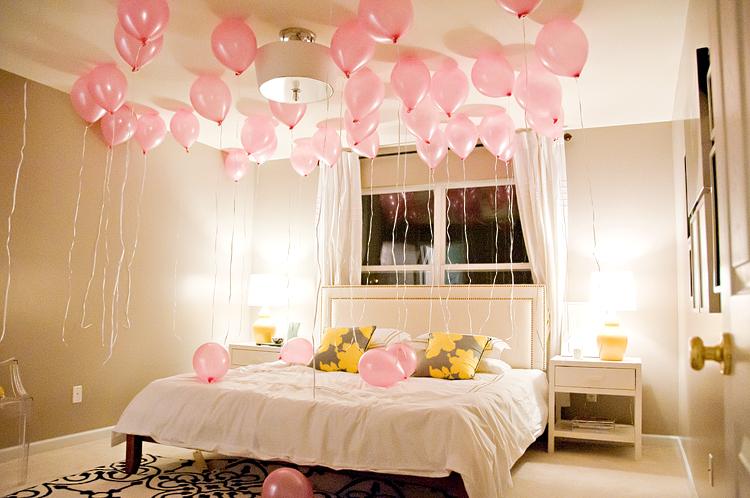تزيين غرف النوم بالبالونات للعروس   مجلة هي