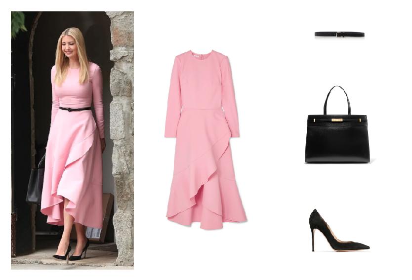 ايفانكا ترامب في لوك أنثوي في فستان باللون الزهري
