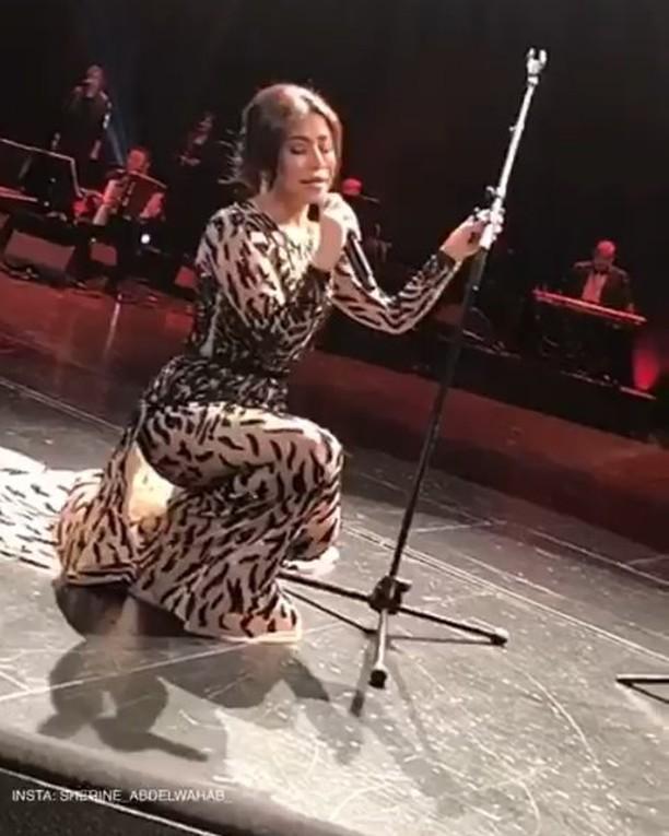 فيديو شيرين عبد الوهاب تغازل أحد حضور حفلها بباريس وهل سقطت على المسرح؟ - مجلة هي