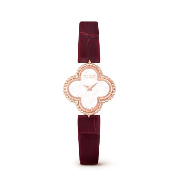 69b45071353bb فخامة سوارات جلد التمساح ساعة من Van Cleef من مجموعة Alhambra مصنوعة من الذهب  الوردي بسير جلد تمساح باللون العنابي