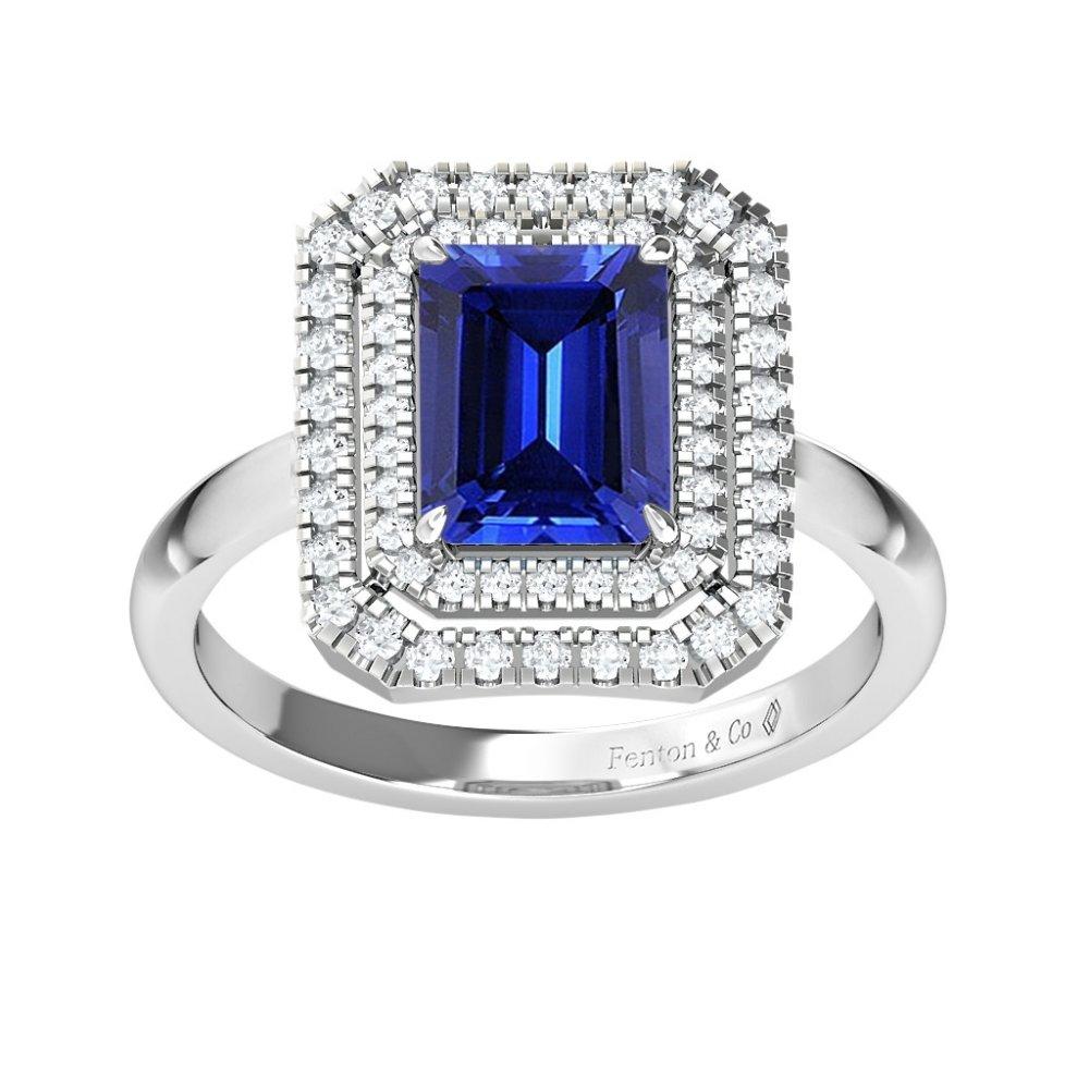 خاتم الهالة بالياقوت الأزرق من فنتون Fenton