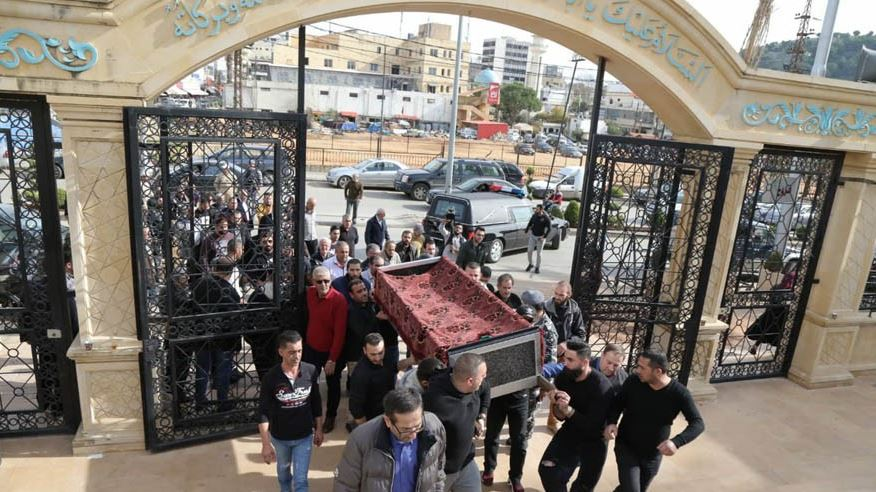 The body of Amal Hamada inside the mosque