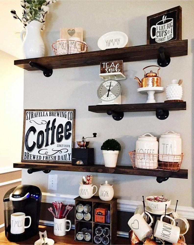 أجمل الديكورات لترتيب ركن القهوة في المنزل بمناسبة اليوم