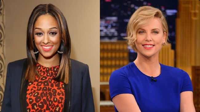 Tia Mowry and. Charlize Theron